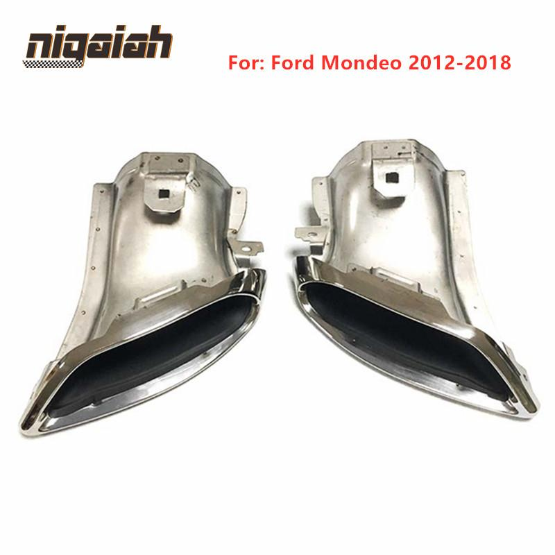 For Ford Mandeo 2012 2018 Car Exhaust Tips Muffler Tailpipe Big Outlet 304 Stainless Steel 2pcs/pair Right + Left