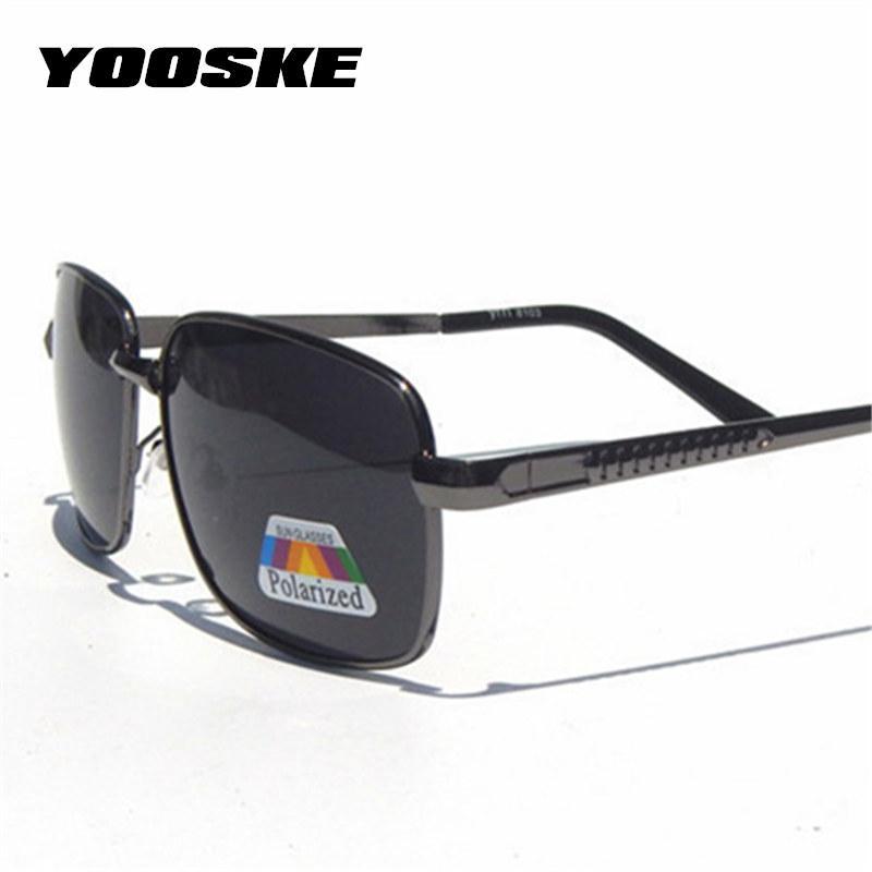 Verres de polariseur Sun Lunettes de soleil Polarisée Mode Driving Goggles Rectangle Objectif Vintage Hommes Mâle Classique Yooske Eyewee Uv400 Twegm