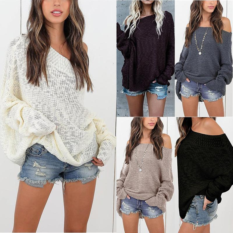 Women Clothes Autumn Winter New Fashions Off Shoulder Sweater Tops Lazy Wind Loose Plus Size Pullover Sweater Knitted Jumpers S-5XL
