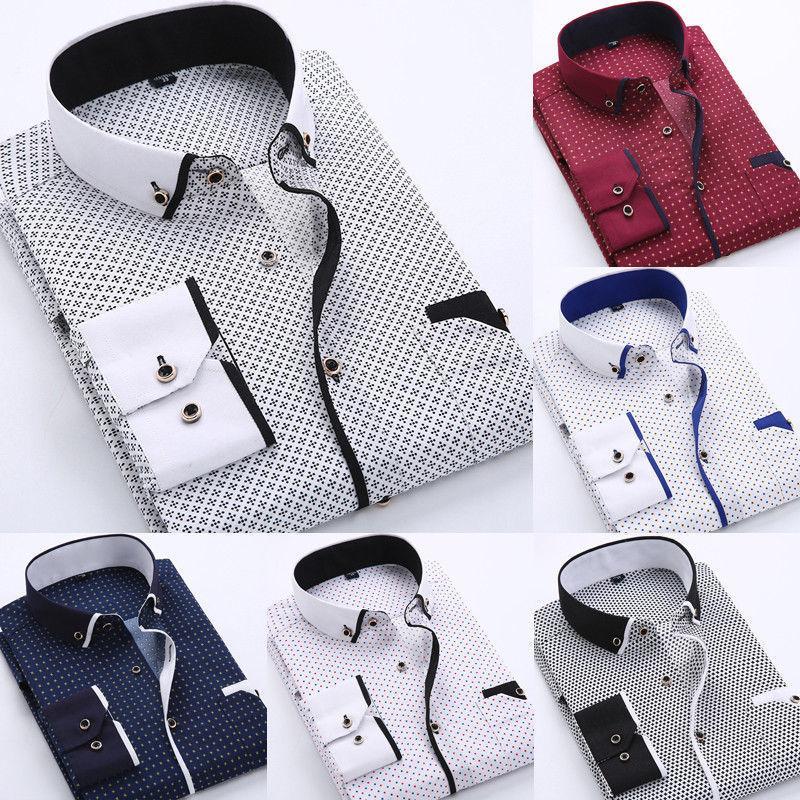 Luxe élégant Slim Fit homme Chemises manches longues à carreaux Chemises Hauts T200914