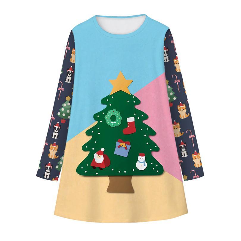 Vestito dei bambini di stampa modo europeo e americano di New Natale Orso digitale a maniche lunghe vestito bello della ragazza di modo