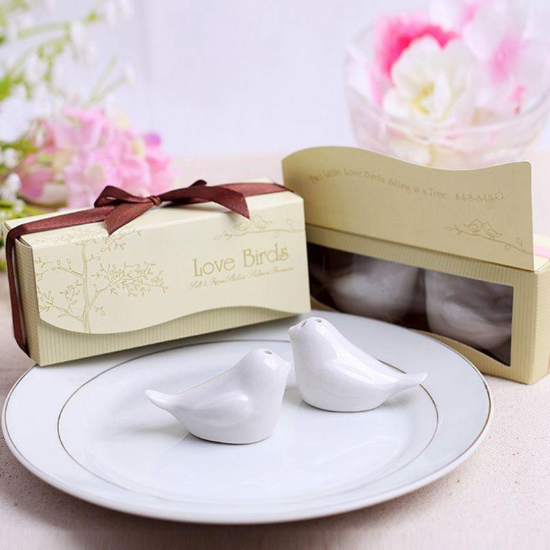 Pájaro del amor de sal pimentero de cerámica de la especia Herramientas 12 .5 * 4 * 5 cm de los pájaros del amor de cerámica favores de la boda salero pimentero personalizadas