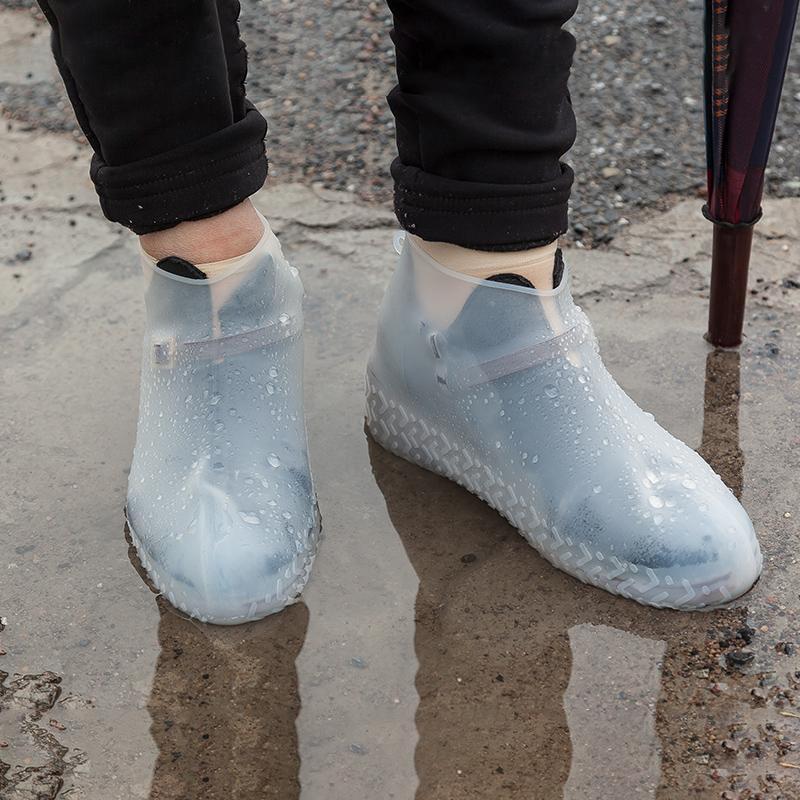 Новый силиконовый водонепроницаемый Бахилы Открытый непромокаемые Пешеходные Skid доказательство Бахилы White
