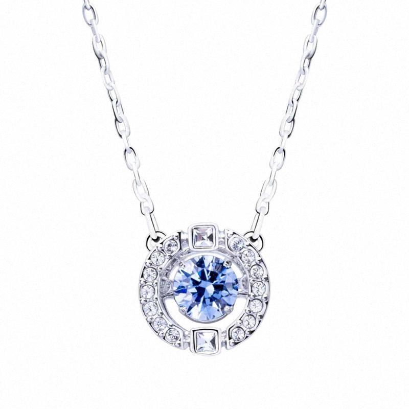 1pc Clavícula Cadeia azul Rhinestone Embutidos Pingente clavícula colar de cadeia para o amante amigo Mulher Mãe (azul Silver) ifFx #