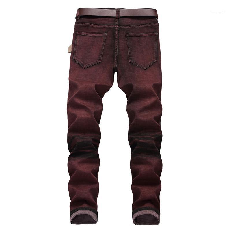 Delikler Erkek Stretch Jeans Moda Düz Tasarımcı Erkek Uzun Pantolon Erkek Kot