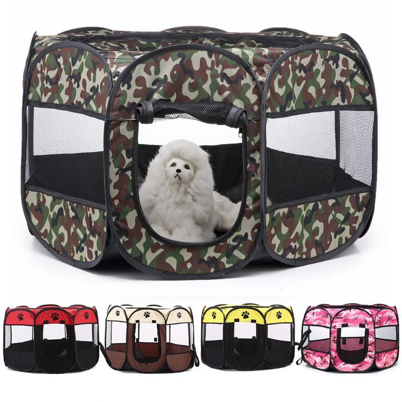 Dog Pet Houses Folding Pet Playpen Training Fence Folding Bed Cat Tent House Cage Playpen Puppy Kennel Octagonal Outdoor