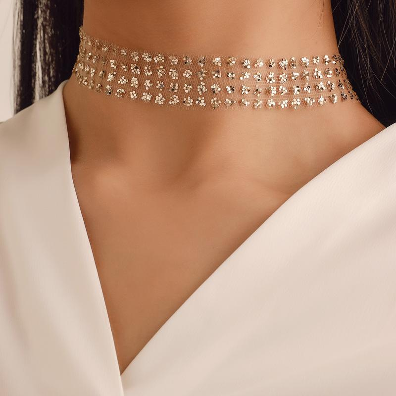 Moda Sexy Ampla metal Collar Choker colares para as mulheres brilhantes lantejoulas Gauze malha Chocker NecklaceTemperament Jóias A005