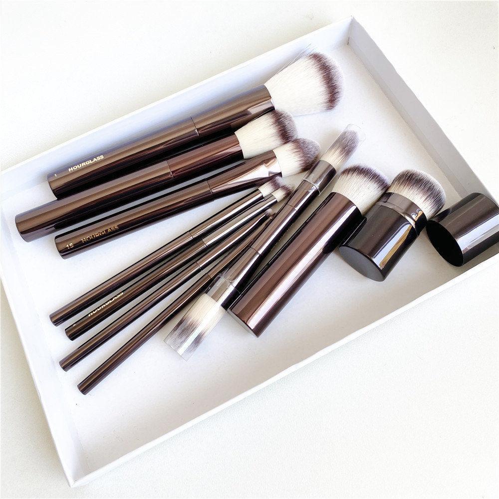 모래 시계 메이크업 브러쉬 세트 - 10-PCS 파우더 블러시 아이 섀도우 Creme Concealer Eyeliner Smudger Dark-Bronze Metal 핸들 화장품 도구