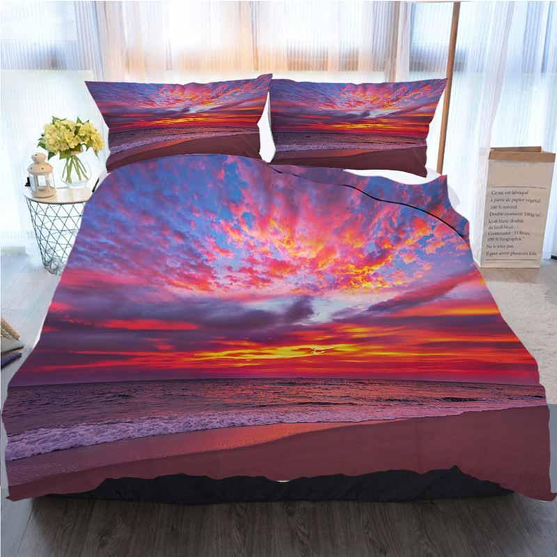 Cielo de cama Conjunto 3 piezas funda nórdica, Cielo dramático tarde con nubes sobre el mar, suave edredón del consolador cubierta Casa de lujo