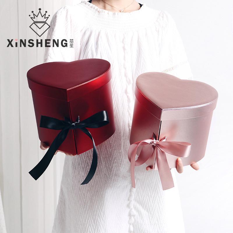 Афина Heart-Shaped двухслойных Подарочная коробка Творческое High-End Flower Box Hand Упаковка Цветочный магазин Материал Свадебный Валентина