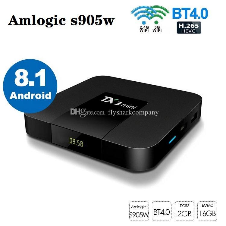 TX3 Mini Amlogic S905W Android 8.1 TV Box 2GB + 16GB Çift Wifi 2.4G + 5G ile BT PK x96q tx6 T95 X96 Mini