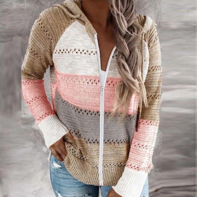 Women's elegant polka dot striped sweaters 2020 Autumn long-sleeved Cardigan Top ladies winter Casual turtleneck hooded knit sweater