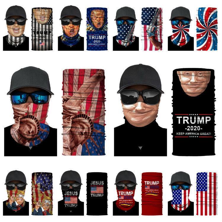 Trump 2020 máscaras 3D impresión digital bufanda mágica multifuncional máscara exterior banda para el cuello Máscaras de diseño T5007