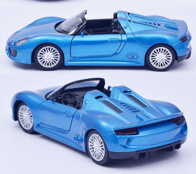 01:32 simulation 918 modèle de voiture en alliage convertible course enfant Pulll Retour véhicule voitures pour enfants Boy cadeaux