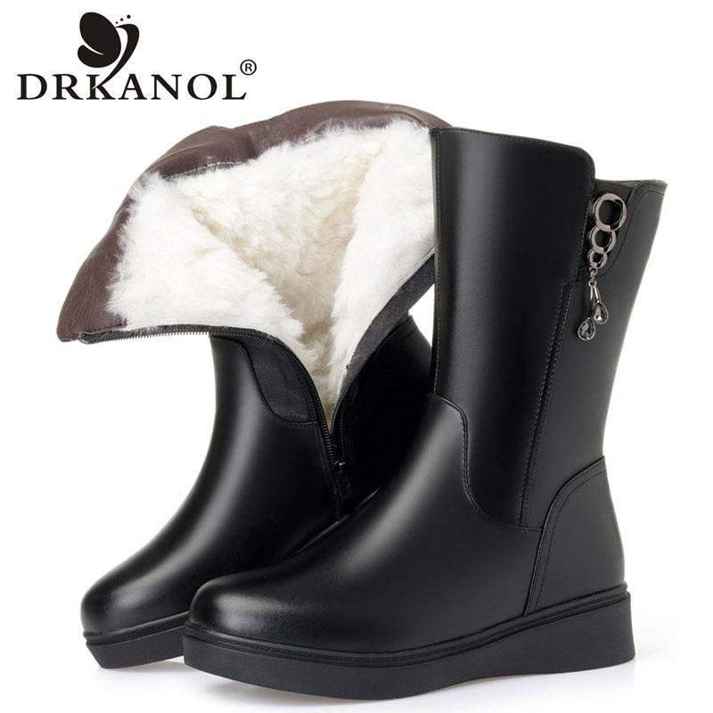 DRKANOL Big Size 35-43 Women Snow Boots Winter Thick Wool Warm Mid Calf Boots Women Fashion Soft Leather Low Wedge Cotton