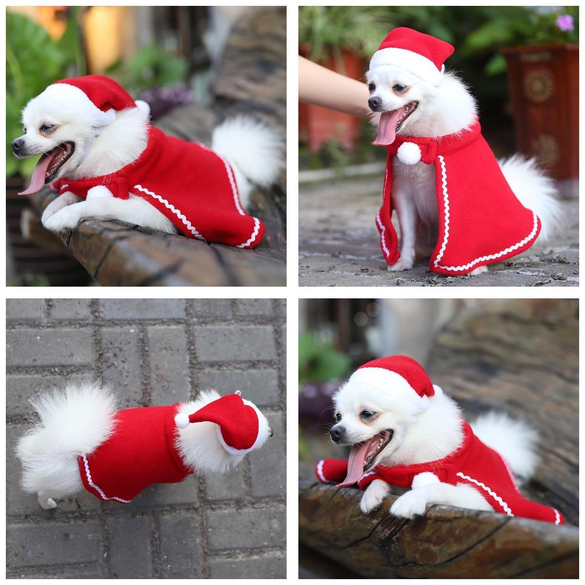 Christmas pet decoration small dog clothing clothing dress dog Teddy dog Cape HAT DRESS Christmas pet hat Cape suit T3I51106