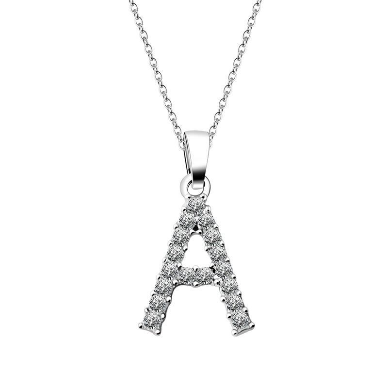 Shiny Cubic Zirconia di pietra di cristallo 26 di alfabeto delle lettere Collana signore signore dei monili delle donne di San Valentino i regali