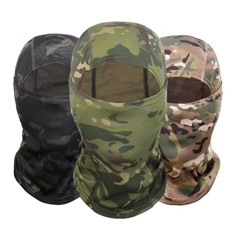 Máscara Outdoor Camuflagem Ninja Balaclava Ciclismo capa da motocicleta caça militar Tactical Helmet Liner engrenagem Facial