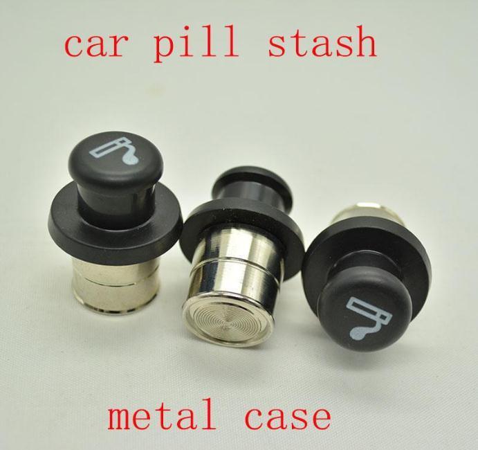 hot!Metal Secret Stash Smoking Car Cigarette Lighter Shaped Hidden Diversion Insert Hidden Pill Box Container Pill Case Storage Box