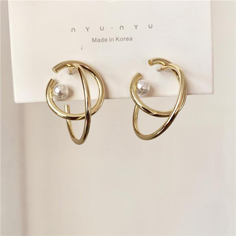 Novo Design do metal da cor do ouro duplo círculo brincos de argola para as Mulheres Estudantes Partido Geometric Pérola Brincos Jóias