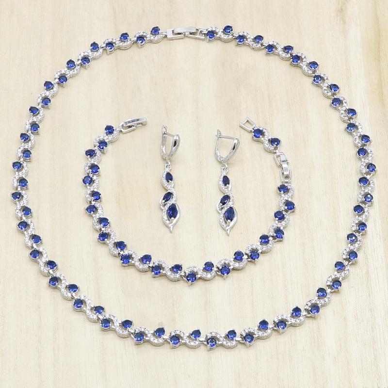 Серьги Ожерелье Royal Blue Полугодный Серебряный Цвет Ювелирных Изделий Наборы Для Женщин Браслет Свадьба Подарок на день рождения