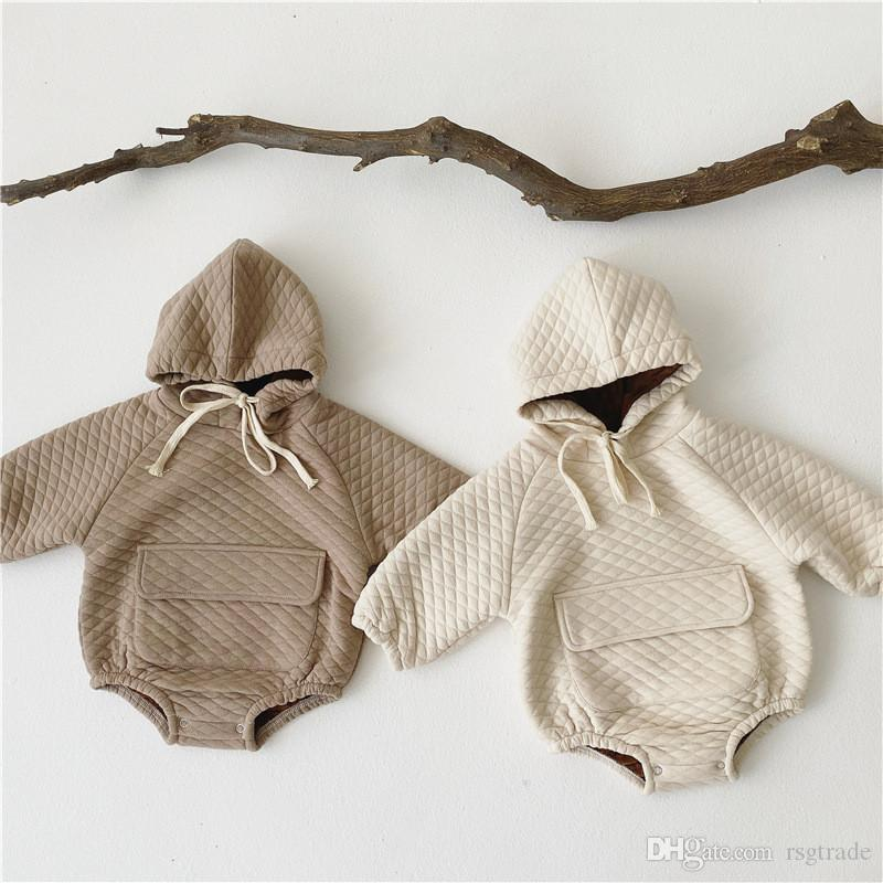 New Stylish INS Infant Baby Boys Girls Rompers Hoodies Pure Cotton Velvet Long Sleeve Straps Pockets Winter Baby Boys Jumpsuits Hooded 0-3T