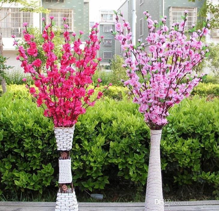 Artificial de cereza del resorte de ciruela flor del melocotón rama de la flor del árbol de seda para la decoración del banquete de boda color de rosa amarillo rojo blanco