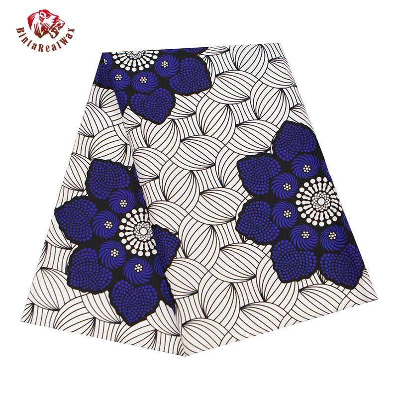 Анкара Ткань Африка Полиэстер печати Голубой цветок Африканский BintaRealWax высокого качества 6 ярдов / серия Африканская ткань для платья FP6343