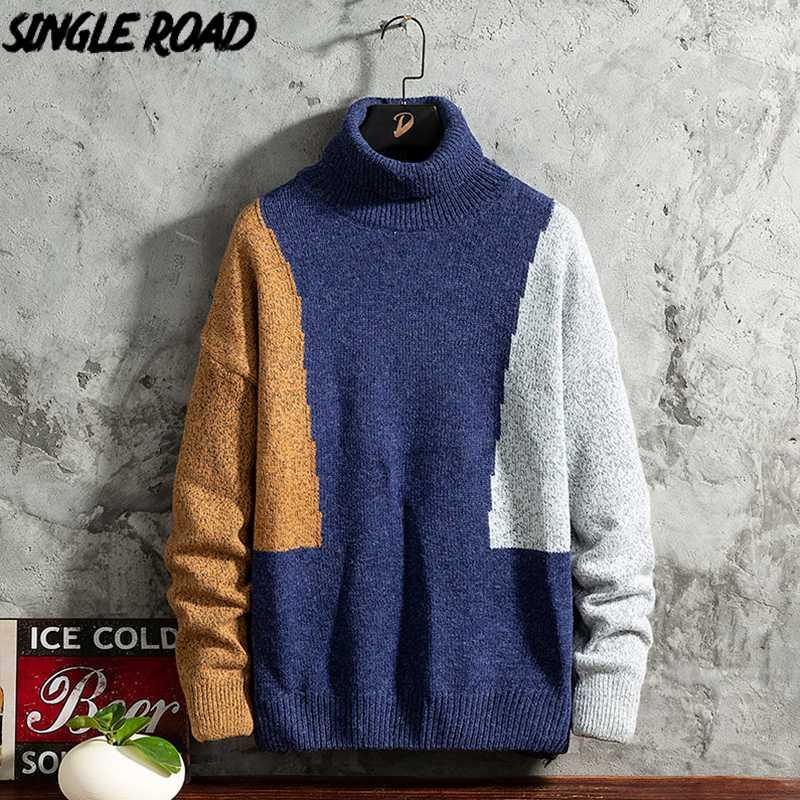 SingleRoad мужские Водолазки свитер Мужчины 2020 Зимние Лоскутная Высокий воротник свитера Harajuku Корейский Водолазка Синий свитер мужчин