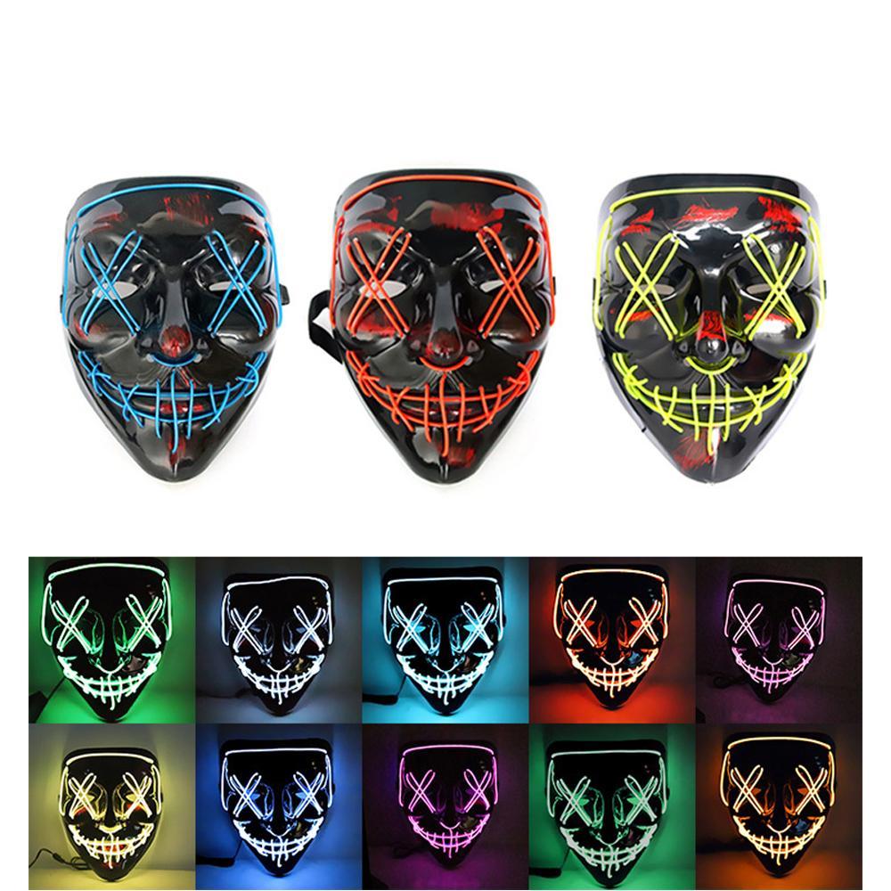 10 stili raffreddano maschera di Halloween LED Light Up Maschera spaventoso maschere Skull Glow per adulti Bambini di Halloween partito di rave maschere spaventose