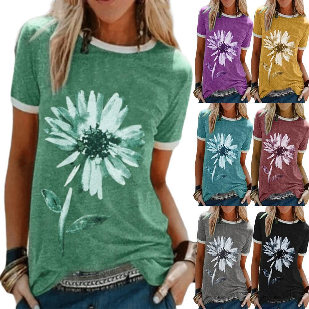 Basılı yuvarlak boyun kısa kollu tişört 2020 Kadın üst gevşek çiçek deseni