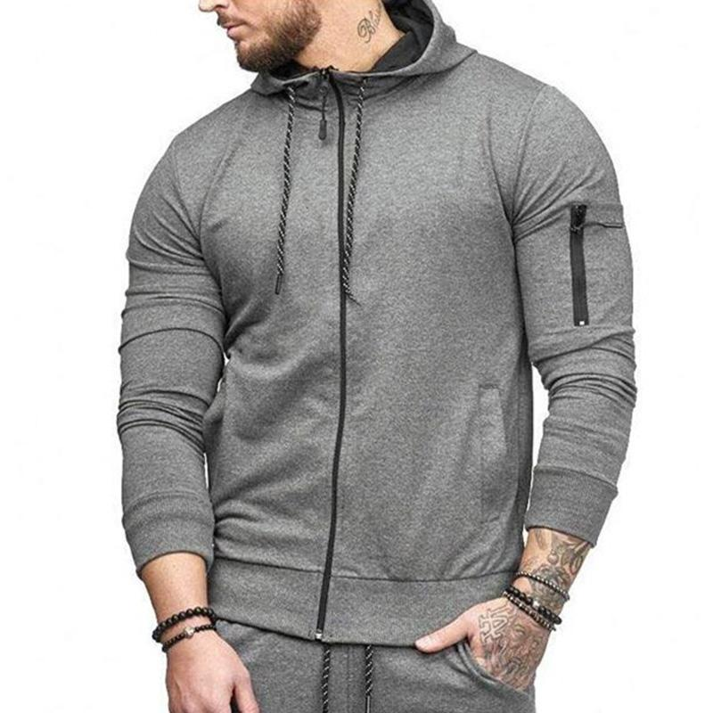 Hoodie Men New Cardigan Arm Zipper Fashion Design Sportswear Casual Hoodies Slim Fit Hoody Clothing Man Big Size M-XXXL