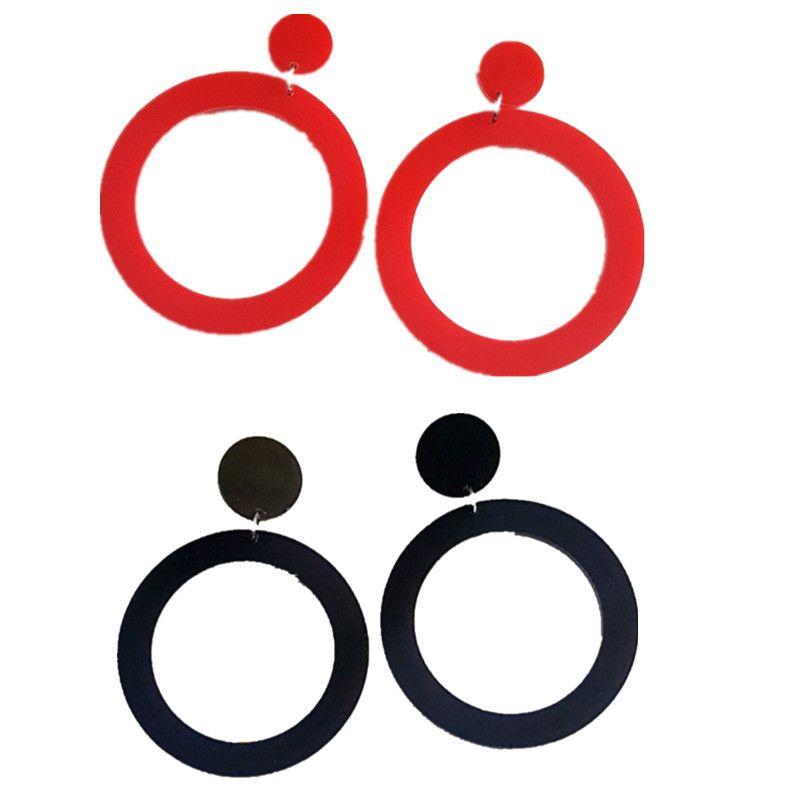 Новый простой круг Красный Черный Большой серьги для ювелирных изделий способа женщин Круглый Большой Длинные акриловые серьги Oorbellen Pendientes Mujer