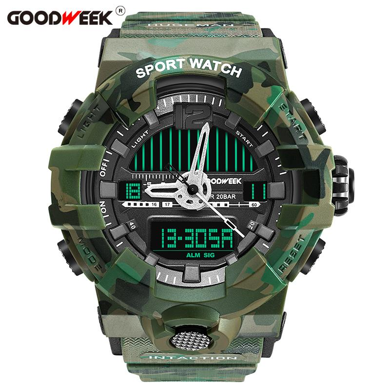 GOODWEEK impermeable hombre del reloj del deporte LED Digital Multi-funcional relojes de cuarzo relojes de doble pantalla Relogios Masculino