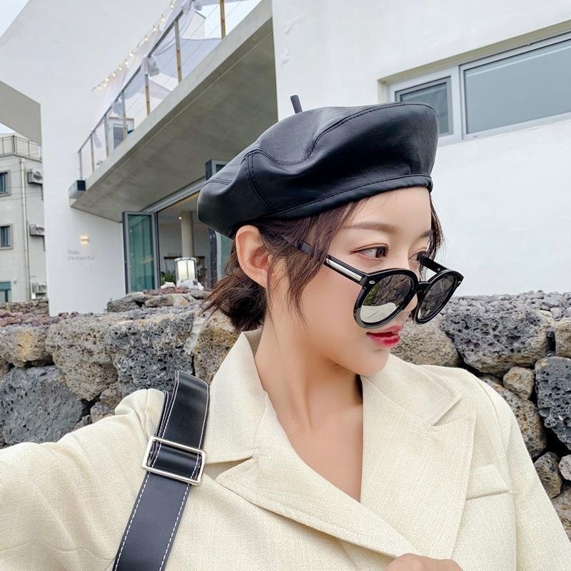 xNpnR Корейской стиля мода Painter шляпа британского стиль Пу кожаный берет женщины онлайн популярного арт художника крышка берет мужской мода