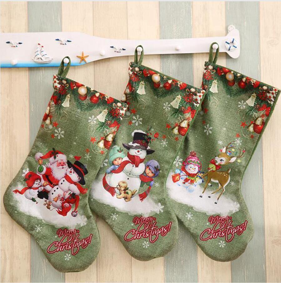 Fiesta de Navidad grande Medias ciervos muñeco de nieve de Santa Claus impresión bolsas de regalo de colgar adornos de Navidad decoraciones de DDA527
