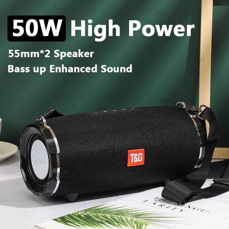 Konuşmacı Boom Box Müzik Merkezi 50W Büyük Su geçirmez Taşınabilir Sütun Subwoofer TG187 Güç Bluetooth telefon bilgisayar hoparlörleri FM için