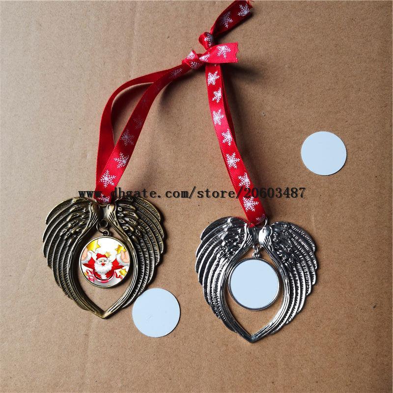 sublimação natal ornamento decorações asas de anjo moldar em branco quente de transferência dois lados consumíveis de impressão preço de fábrica
