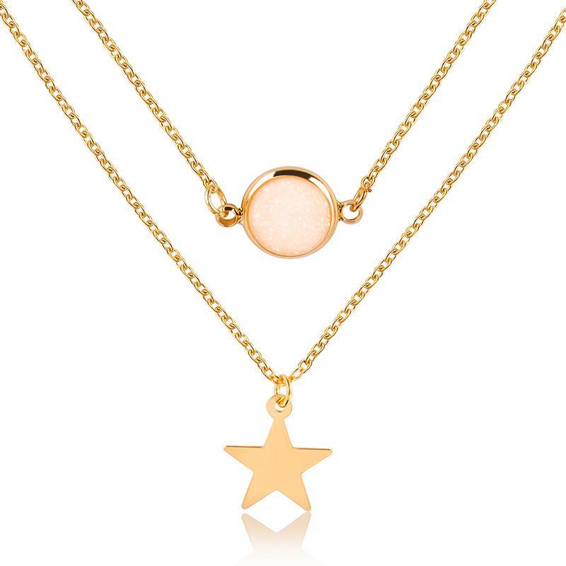 Color oro clavícula cadena de la joyería de la señora Fashion Party capa exquisita doble Natural estrella colgante de piedra collar de las mujeres encantadoras