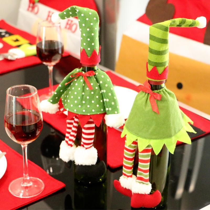 Toptan-1PCS / şarap şişesi çanta Noel masa dekorasyonu Noel Elf elbise ev partisi şarap şampanya şarap çanta Yılbaşı Süslemeleri