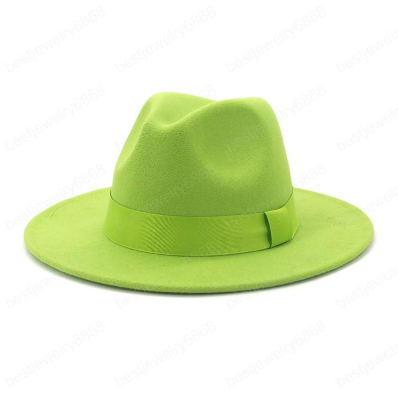 Moda Kadınlar Bayanlar Yeşil Yün Keçe Caz Fedora Şapkalar Düz Brim Panama Örgün Şapka Karnaval Kap Parti Seyahat Için