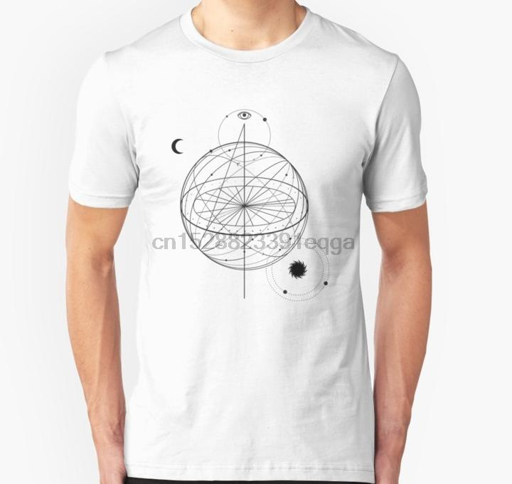 Símbolo da alquimia camiseta Homens manga curta com olho lua sol Unisex T Shirt Mulheres camisetas