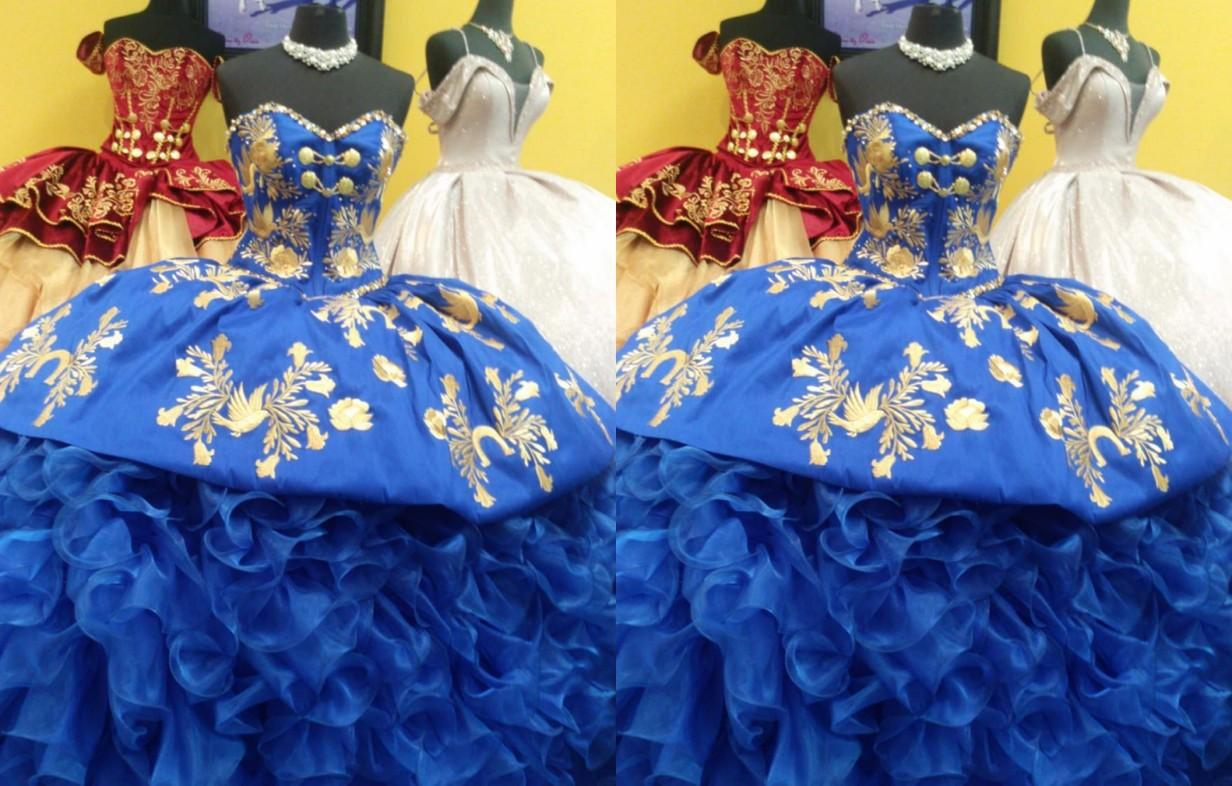2021 Fashion Gold Embroideried Royal Blue Ball Gown Quinceanera Prom Dresses Bling Beading Sequin Sweetheart Satin Ruffle Corset Back Formal