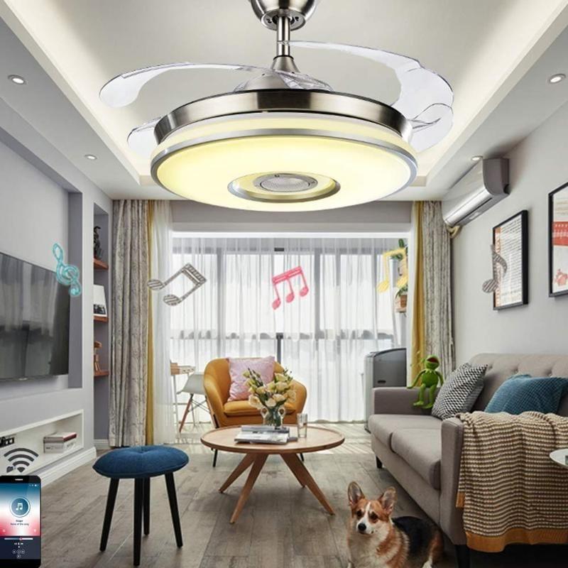 """Ventilateurs électriques 42 """"Bluetooth Music Plafond Ventilateur de ventilateur avec lames rétractables Télécommande à distance 3 Couleurs Moteur silencieux à 3 vitesses"""