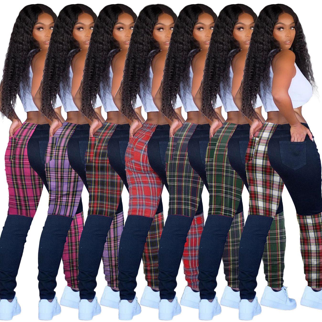 Designer-Frauen-Gamaschen-Gitter-Muster Kontrast Stitching Grid-lange Hosen dünne reizvolle Damen neue Art und Weise Hosen 2020 T208