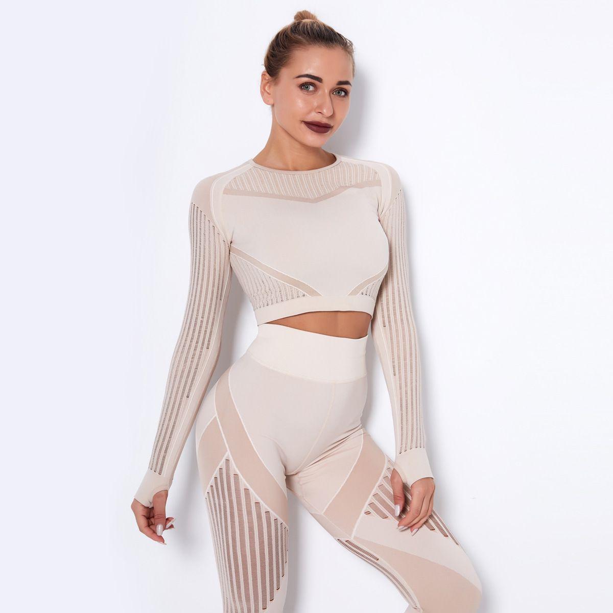 Nuevos Deportes Tight hueco de plástico superior de secado rápido Correr Yoga ropa de manga larga sin fisuras la aptitud Pantalones largos de la manera fijado chándal