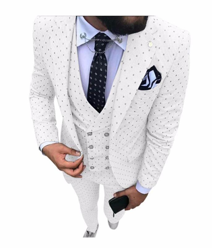 2020 uomini Poika dot Suit 3-Pieces ultima mutanda del cappotto progetta Notch risvolto smoking Groomsmen Per Wedding / partito (Blazer + vest + pants)