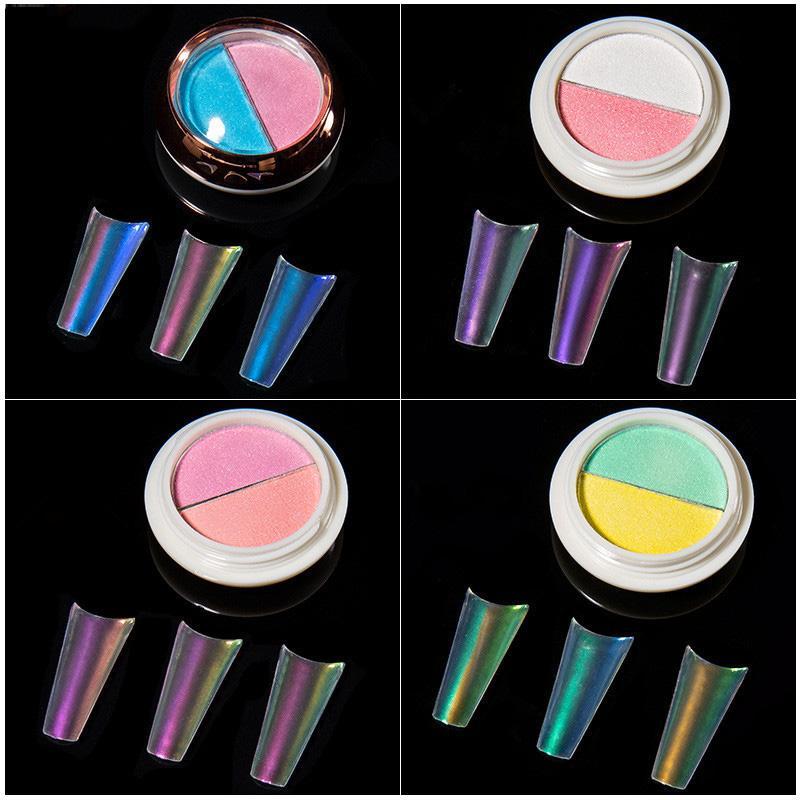Nail Art doppio colore solido Aurora polvere Chameleon glitter Tatuaggi specchio olografico Strumento Manicure