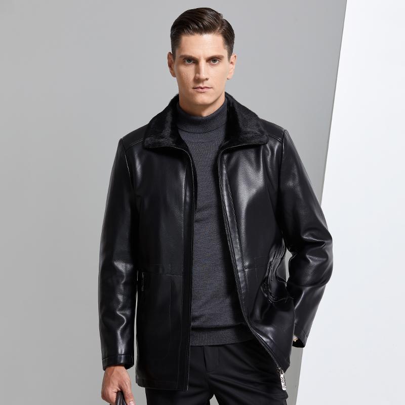 Cuero para hombre de las chaquetas de los hombres de la chaqueta de la PU Marca Vestimenta informal caliente grueso anchas de cuello de piel de invierno masculinos chaquetas de lana
