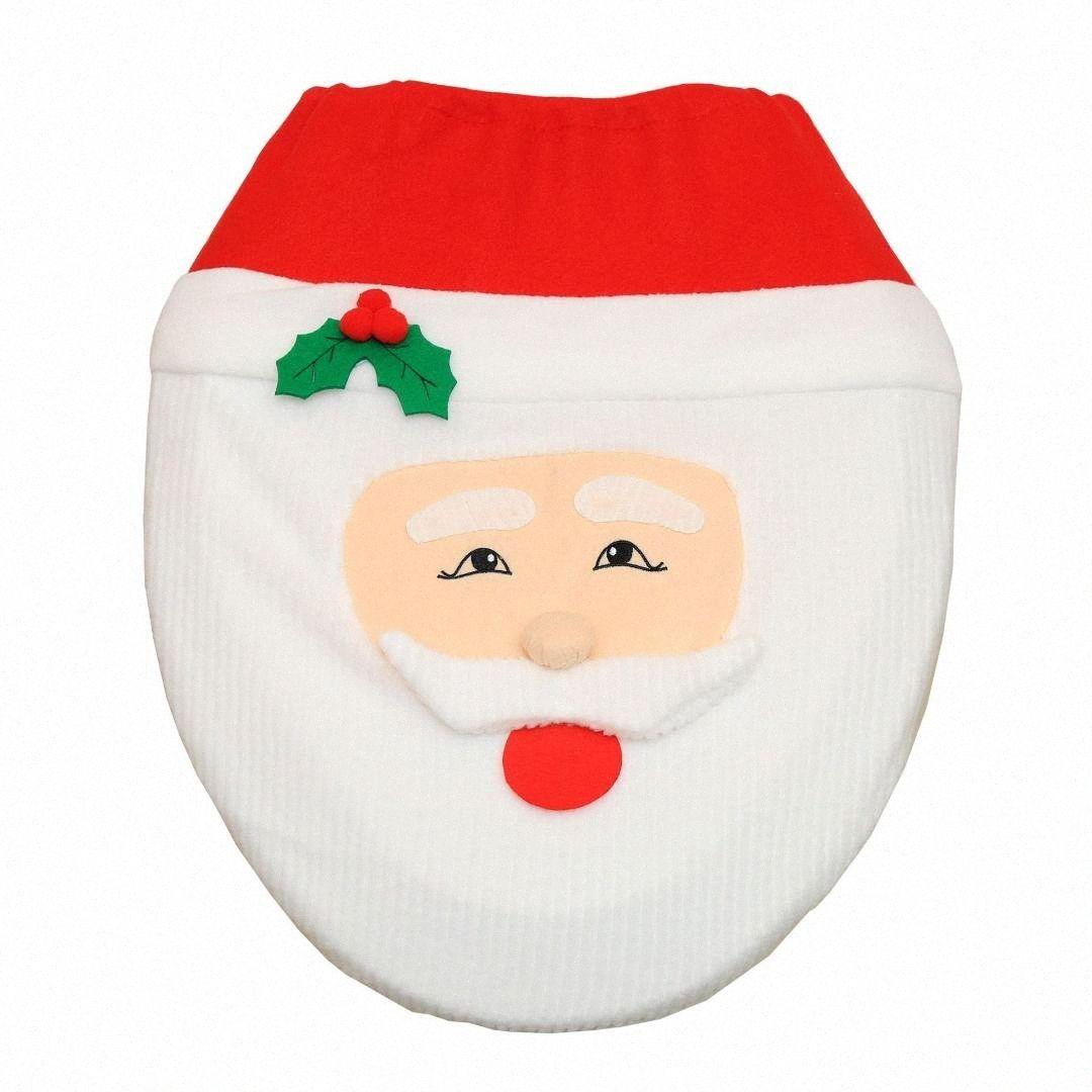 1PCS Decorazioni di Natale per casa Bagno Toilet Seat Paper Cover Tappeto Ornamenti di Natale Babbo Natale Capodanno decorazione W1O6 #